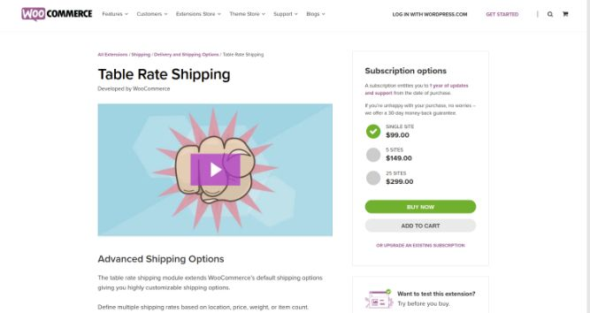 WooCommerce Table Rate Shipping - Woocommerce plugin