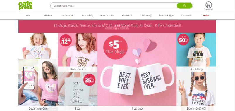 Cafepress - custom t-shirts and promotional mugs